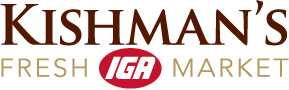 A theme footer logo of Kishman's IGA